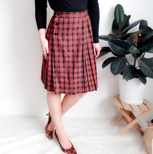 90s Vintage Pleated Striped Plaid Wrap ALine Skirt